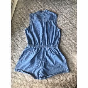Rue21 Pants - Denim Romper with gold bottoms.